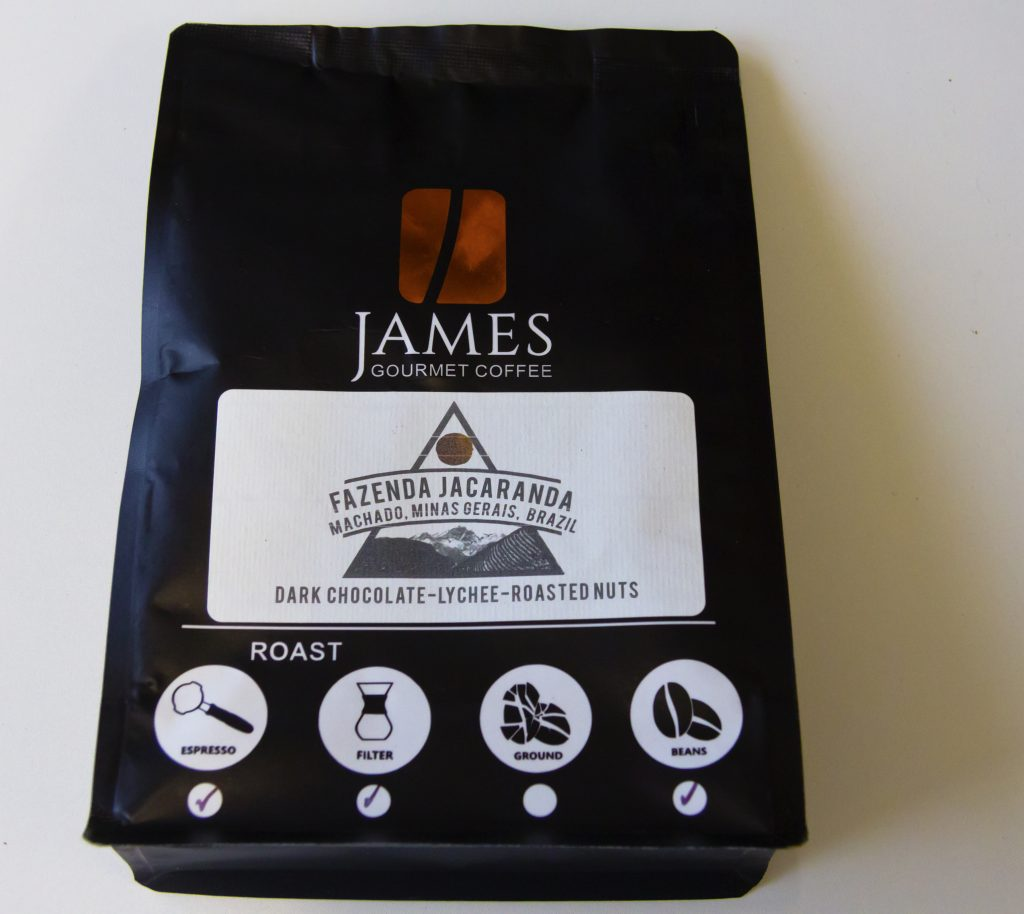 Packet of James Gourmet Coffee beans
