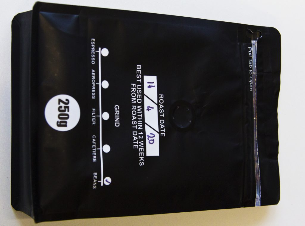 James Gourmet Coffee Beans packet view from back