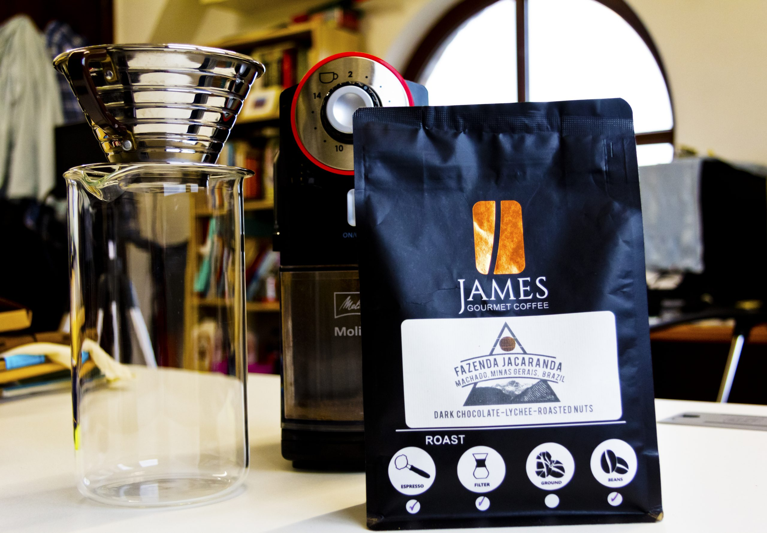 James Gourmet Coffee Beans with Melitla Molino Coffee Grinder and Kalita Wave 185